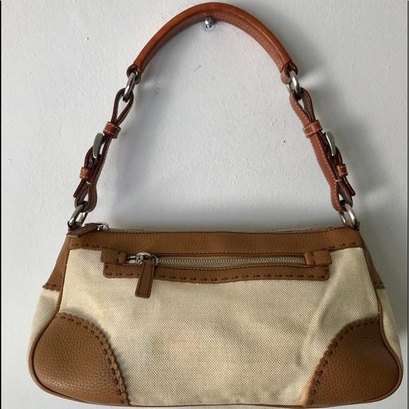 45f3560e1161 Prada Bags | Vintage Canvas Leather Shoulder Bag | Poshmark